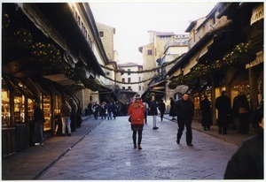 Sandi Sommer and shoppers on Ponte Vecchio