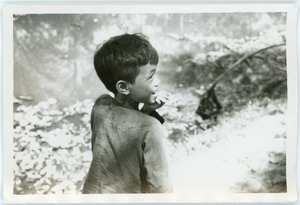 Boy standing by pond