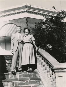 Abraham Ozer and Ruth Newman, posing on steps