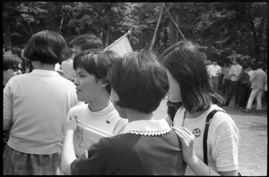 Group of young women at Vietnam antiwar demonstration in downtown Tokyo