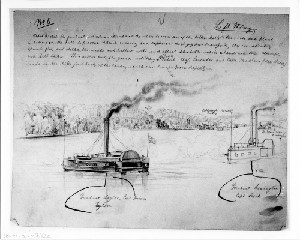 Battle of Pittsburgh Landing, Shiloh, Tennessee: Gunboats Shelling Rebel Positions