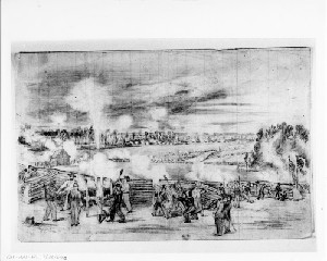 The Siege of Petersburg - Shelling the Town from Captain Roemer's Battalion