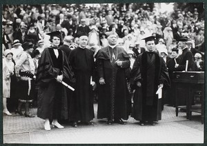 Commencement 1928. Mrs. Vincent P. Roberts, Rev. James H. Dolan, S.J., Cardinal O'Connell, Abbot Bertrand Dolan, O.S.B. of St. Anselm's, Manchester, N.H
