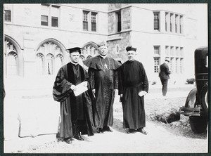 Commencement 1928. Abbot Bertrand Dolan, O.S.B., Cardinal O'Connell, Rev. James H. Dolan, S.J. of St. Anselm's, Manchester, N.H