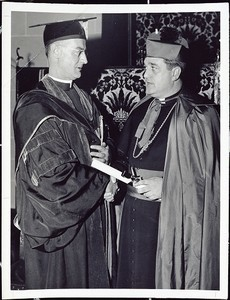 At a special convocation in October 1947 in Bapst auditorium, Father Keleher conferred an honorary LL.D. degree on Boston's auxiliary bishop (later cardinal) John J. Wright ('31)