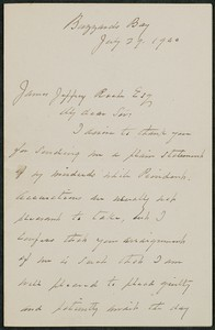 Letter, July 29, 1900, Grover Cleveland to James Jeffrey Roche