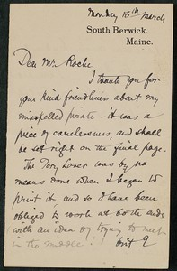 Letter, approximately 1880-1900, Sarah Orne Jewett to James Jeffrey Roche
