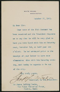 Letter, October 28, 1901, Theodore Roosevelt to James Jeffrey Roche