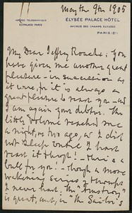 Letter, May 9, 1905, Henry Watterson to James Jeffrey Roche