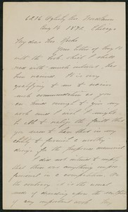 Letter, August 14, 1892, Daniel Chester French to James Jeffrey Roche
