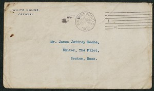 Envelope, undated, Theodore Roosevelt to James Jeffrey Roche