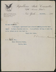 Letter, October 31, 1898, Theodore Roosevelt to James Jeffrey Roche