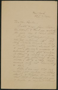Letter, February 7, 1891 George Parsons Lathrop to James Jeffrey Roche