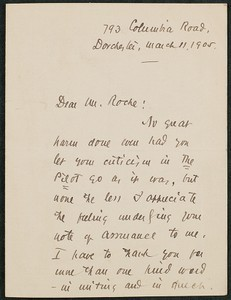 Letter, March 11, 1905, James B. Connolly to James Jeffrey Roche