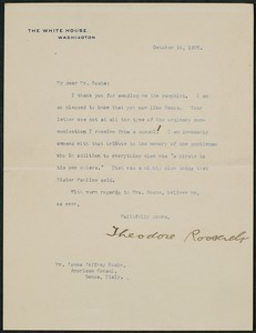 Letter, October 14, 1905, Theodore Roosevelt to James Jeffrey Roche
