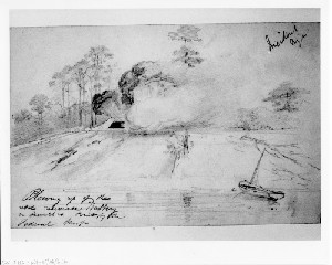 Blowing Up the Rebel Casemate battery on Sewell's Point by the Federal Troops