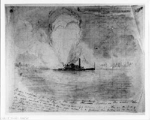 Burning and Explosion of the Rebel Gunboat Curlew, Croatan Sound