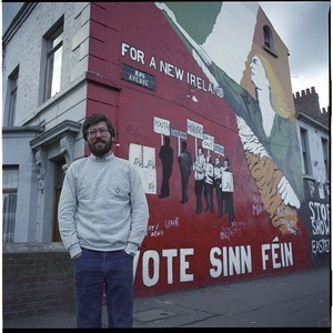 Gerry Adams in front of republican wall mural on the Falls Road, and shots of mural alone