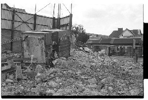 Andersonstown RUC/PSNI station, West Belfast. Demolition of this highly fortified police station which was a landmark in West Belfast. Images taken in the years immediately following the change from RUC to PSNI.