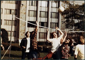 Boston College students playing volleyball