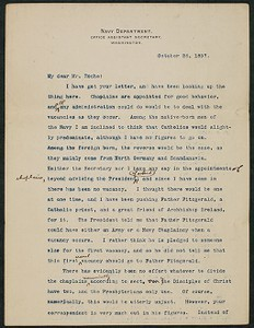 Letter, October 26, 1897, Theodore Roosevelt to James Jeffrey Roche