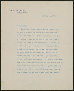 Letter, January 14, 1907, Theodore Roosevelt to James Jeffrey Roche