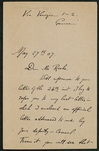 Letter, May 27, 1907, Gerald Hay to James Jeffrey Roche