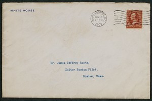Envelope, November 8, 1902, Theodore Roosevelt to James Jeffrey Roche