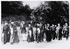 "1925 - Commencement march. Pictured Mary Mellyn (1st woman to earn a honorary degree - ""1st"" woman grad)"