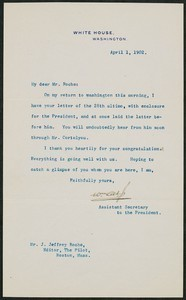 Letter, April 1, 1902, Theodore Roosevelt to James Jeffrey Roche