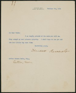Letter, October 7, 1915, Theodore Roosevelt to James Jeffrey Roche