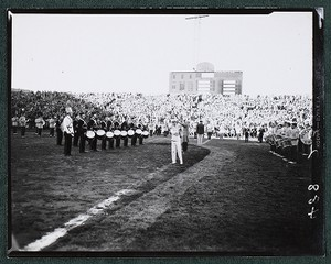View of marching band on football field