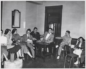 View of students in discussion at Boston Evening College
