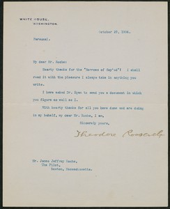 Letter, October 29, 1904, Theodore Roosevelt to James Jeffrey Roche