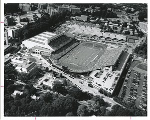 Alumni Stadium and Silvio O. Conte Forum aerial view