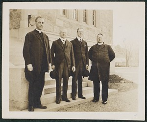 April 16, 1916. Boston College University Heights, Mass. Rev. Michael Jessup, S.J., Charles Mooney, Dr. Fred Lyons, and Rev. Charles W. Lyons, S.J