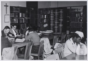 View of students studying in library at BC Intown
