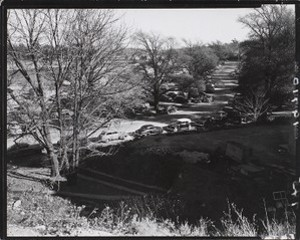 Aerial view of parked cars, probably Boston College campus