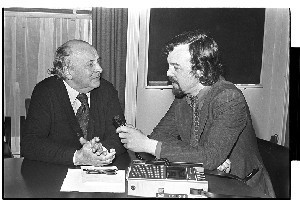 A.L. Lloyd, English folksinger and song collector (deceased). Being interviewed by BBC radio by Paddy O'Flaherty
