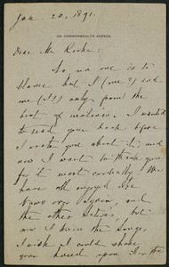 Letter, January 20, 1891, William Dean Howells to James Jeffrey Roche