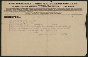 Telegram, approximately, November 22, 1915, Theodore Roosevelt to James Jeffrey Roche