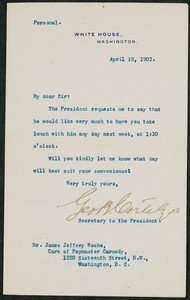 Letter, April 18, 1902, Theodore Roosevelt to James Jeffrey Roche