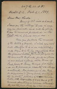 Letter, February 21, 1889, Capt. Sam C. Reid to James Jeffrey Roche