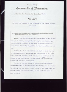 Boston College charter of incorporation and amendments, 1863-1959