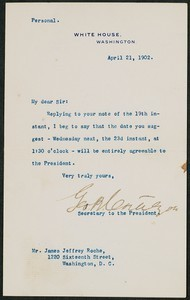 Letter, April 21, 1902, Theodore Roosevelt to James Jeffrey Roche
