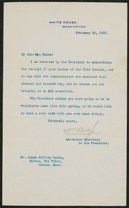 Letter, February 26, 1902, Theodore Roosevelt to James Jeffrey Roche