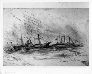 "The Banks Expedition - The U.S. Steam Transport ""Ericsson Going to the Assistance of U.S. Transport ""Thames"" off Hatteras"