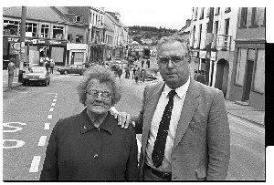 Bomb in the Main Street of Ballynahinch, Co. Down.  Shots taken next day of Eddie McGrady, SDLP politician, at the scene