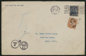 Envelope, October 14, 1905, Theodore Roosevelt to James Jeffrey Roche