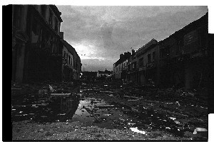 Bomb in the Main Street of Ballynahinch, Co. Down. Shots taken immediately after the bomb blast, almost total destruction of buildings